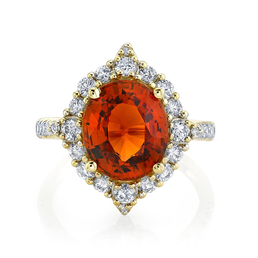 TVON - 5.54Cts Oval Natural Mandarin Garnet Gemstone and Diamond - Signature Design Ring for Women in 14K Gold with Prong Setting - SR11081 - 4