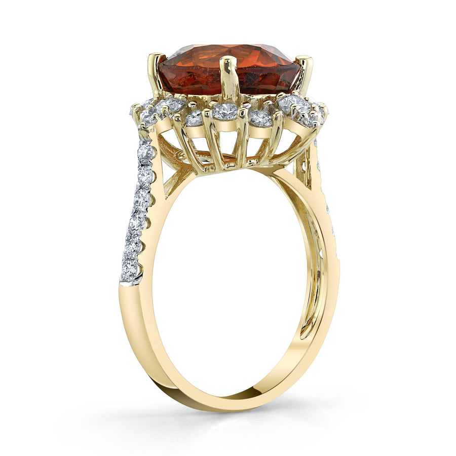 TVON - 5.54Cts Oval Natural Mandarin Garnet Gemstone and Diamond - Signature Design Ring for Women in 14K Gold with Prong Setting - SR11081 - 5