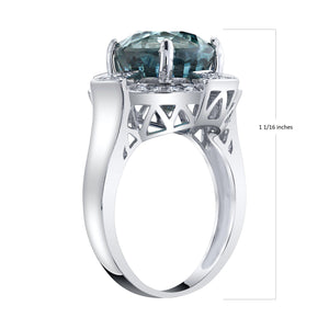TVON - 8.28Cts Round Natural Blue Zircon Gemstone and Diamond - Vintage Ring for Women in 14K Gold with Prong Setting - SR11089 - 4