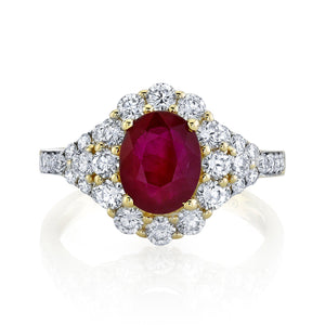 TVON - 1.8Cts Oval Natural Burma Ruby Gemstone and Diamond - Vintage Ring for Women in 14K Gold with Prong Setting - SR11105 - 1