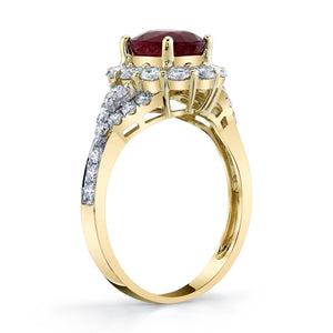 TVON - 1.8Cts Oval Natural Burma Ruby Gemstone and Diamond - Vintage Ring for Women in 14K Gold with Prong Setting - SR11105 - 2