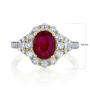 TVON - 1.8Cts Oval Natural Burma Ruby Gemstone and Diamond - Vintage Ring for Women in 14K Gold with Prong Setting - SR11105 - 3