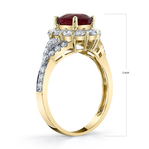 TVON - 1.8Cts Oval Natural Burma Ruby Gemstone and Diamond - Vintage Ring for Women in 14K Gold with Prong Setting - SR11105 - 4