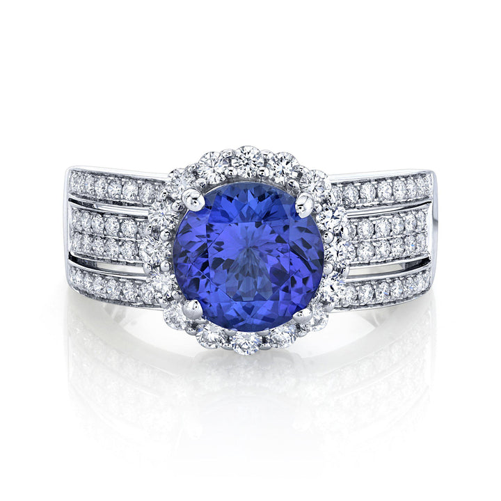 TVON - 2.36Cts Round Natural Tanzanite Gemstone and Diamond - Bridge Ring for Women in 14K Gold with Prong Setting - SR11131 - 4