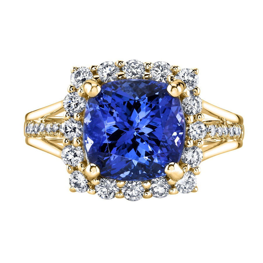 14K 4.08 Cts Tanzanite 0.78 Cttw VS Diamond Ring - TVON.com