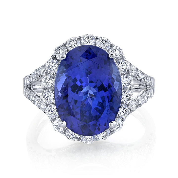 TVON - 7.03Cts Oval Natural Tanzanite Gemstone and Diamond - Vintage Ring for Women in 14K Gold with Prong Setting - SR11180 - 4