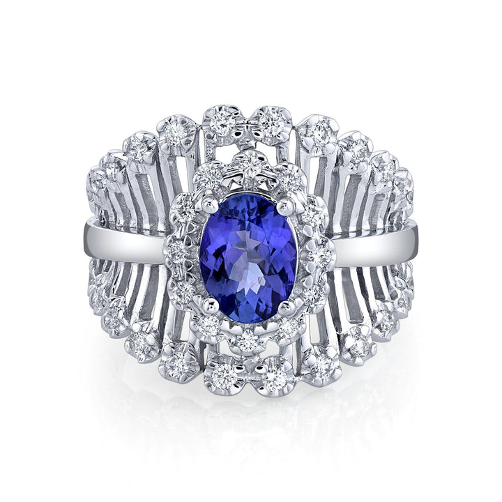 TVON - 0.9Cts Oval Natural Tanzanite Gemstone and Diamond - Vintage Ring for Women in 14K Gold with Prong Setting - SR11278 - 5