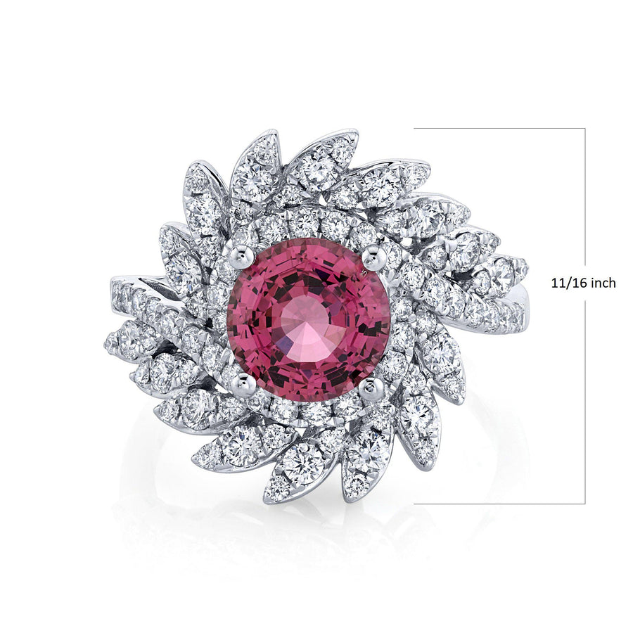 TVON - 2.07Cts Round Natural Mahenge Pink Spinel Gemstone and Diamond - Signature Design Ring for Women in 14K Gold with Prong Setting - SR11314 - 1
