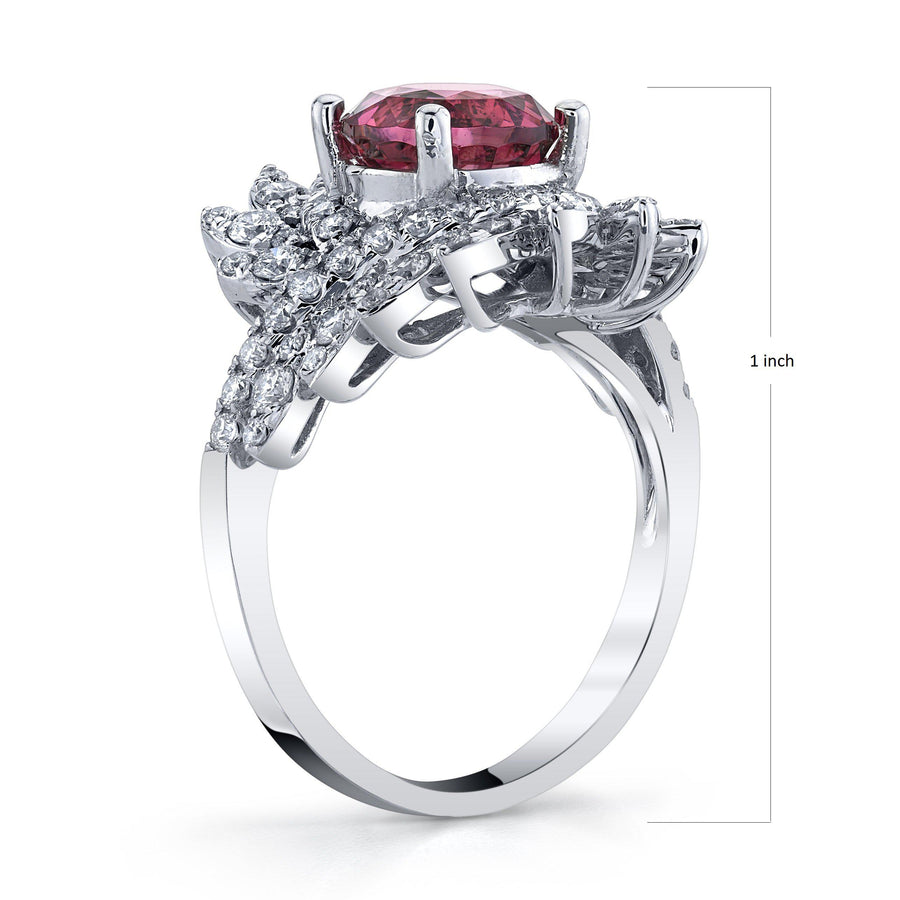 TVON - 2.07Cts Round Natural Mahenge Pink Spinel Gemstone and Diamond - Signature Design Ring for Women in 14K Gold with Prong Setting - SR11314 - 2