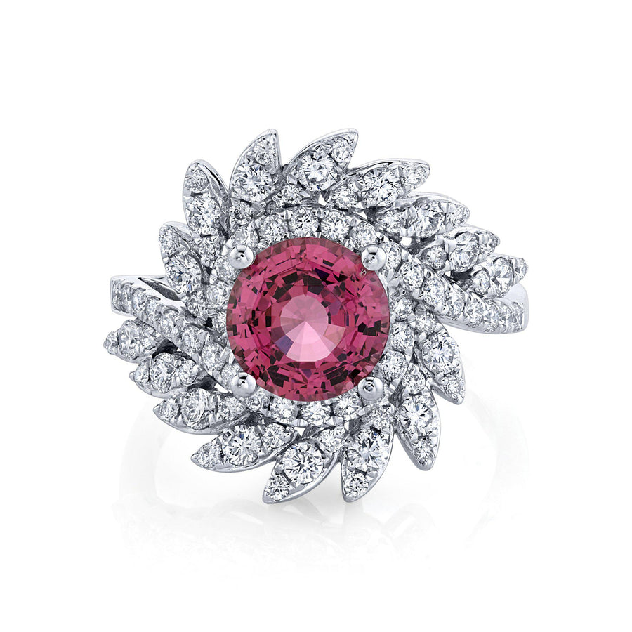 TVON - 2.07Cts Round Natural Mahenge Pink Spinel Gemstone and Diamond - Signature Design Ring for Women in 14K Gold with Prong Setting - SR11314 - 4