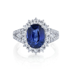 TVON - 3.62Cts Oval Natural Blue Sapphire Gemstone and Diamond - Vintage Ring for Women in 14K Gold with Prong Setting - SR11328 - 4