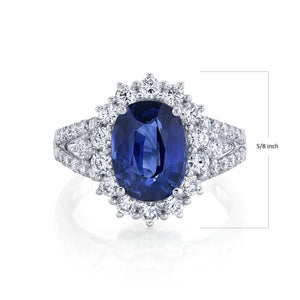 TVON - 3.62Cts Oval Natural Blue Sapphire Gemstone and Diamond - Vintage Ring for Women in 14K Gold with Prong Setting - SR11328 - 1