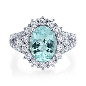 TVON - 2.36Cts Oval Natural Paraiba Gemstone and Diamond - Vintage Ring for Women in 14K Gold with Prong Setting - SR11328 - 4