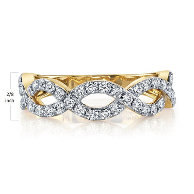 TVON - 0.72cts White Diamond Wedding Band For Women in 14K Gold - stackable - SR11345