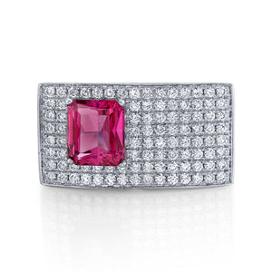 TVON - 1.83Cts Round Natural Mahenge Pink Spinel Gemstone and Diamond - Signature Design Ring for Women in 14K Gold with Prong Setting - SR11351 - 4