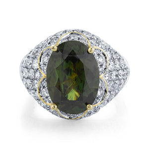 TVON - 6.35Cts Oval Natural Sphene Gemstone and Diamond - Signature Design Ring for Women in 14K Gold with Prong Setting - SR11378 - 1