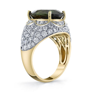 TVON - 6.35Cts Oval Natural Sphene Gemstone and Diamond - Signature Design Ring for Women in 14K Gold with Prong Setting - SR11378 - 2