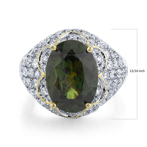TVON - 6.35Cts Oval Natural Sphene Gemstone and Diamond - Signature Design Ring for Women in 14K Gold with Prong Setting - SR11378 - 3