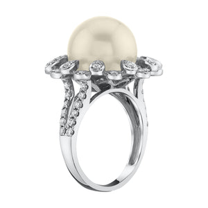 14K 12mm Freshwater Pink Pearl 0.58 Cttw VS Diamond Ring - TVON.com