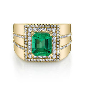 TVON - 1.81Cts Emerald Cut Natural Colombian Emerald Gemstone and Diamond - Gents' Ring in 14K Gold with Prong Setting - SR11400 - 1