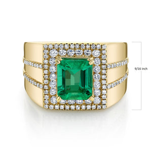 TVON - 1.81Cts Emerald Cut Natural Colombian Emerald Gemstone and Diamond - Gents' Ring in 14K Gold with Prong Setting - SR11400 - 3