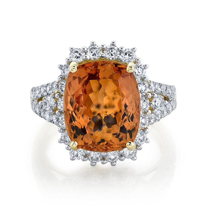 TVON - 7.6Cts Anticushion Natural Imperial Topaz Gemstone and Diamond - Signature Design Ring for Women in 14K Gold with Prong Setting - SR11416 - 4