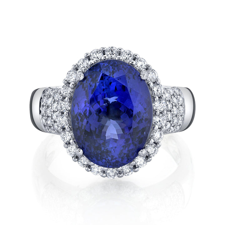 TVON - 9.67Cts Oval Natural Tanzanite Gemstone and Diamond - Vintage Ring for Women in 14K Gold with Prong Setting - SR11421 - 4