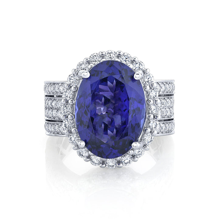 TVON - 7.54Cts Oval Natural Tanzanite Gemstone and Diamond - Bridge Ring for Women in 14K Gold with Prong Setting - SR11428 - 4