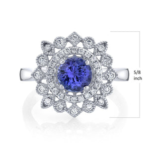 TVON - 0.95Cts Round Natural Tanzanite Gemstone and Diamond - Halo Ring for Women in 14K Gold with Prong Setting - SR11450 - 1