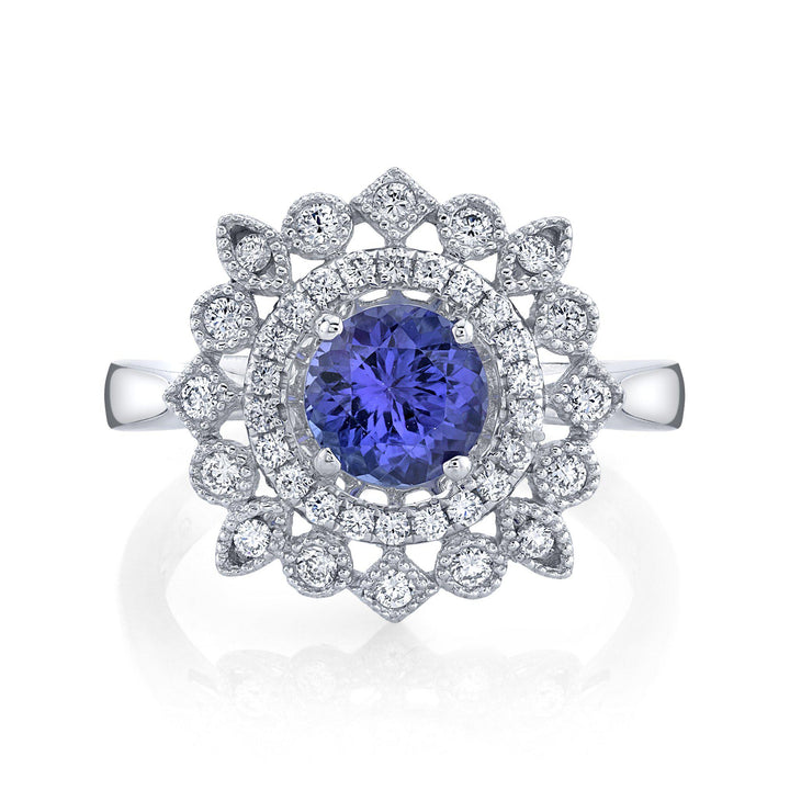 TVON - 0.95Cts Round Natural Tanzanite Gemstone and Diamond - Halo Ring for Women in 14K Gold with Prong Setting - SR11450 - 4