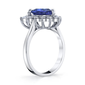 TVON - 0.95Cts Round Natural Tanzanite Gemstone and Diamond - Halo Ring for Women in 14K Gold with Prong Setting - SR11450 - 5