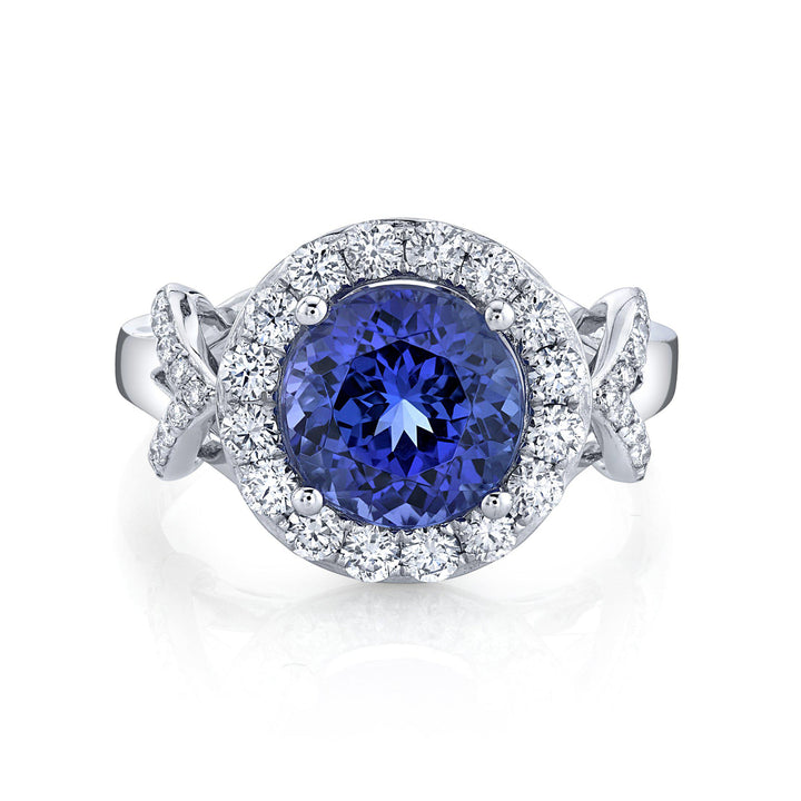 TVON - 2.72Cts Round Natural Tanzanite Gemstone and Diamond - Halo Ring for Women in 14K Gold with Prong Setting - SR11458 - 4