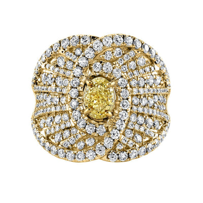 TVON -0.63Cts Oval Natural Yellow Diamond GemStone and Diamond - Vintage Ring for Women in 14K Gold with Prong Setting - SR11476