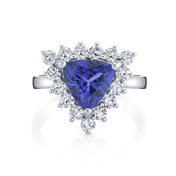 TVON - 1.83Cts Trillion Natural Tanzanite Gemstone and Diamond - Signature Design Ring for Women in 14K Gold with Prong Setting - SR11477 - 4