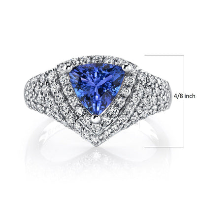 TVON -1.58Cts Trillion Natural Tanzanite GemStone and Diamond - Vintage Ring for Women in 14K Gold with Prong Setting - SR11479