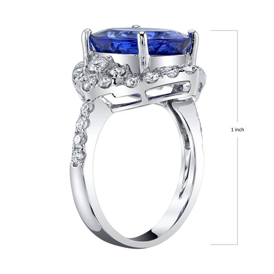 TVON - 5.40cts Oval shape Blue wing Tanzanite with white Diamond Ring in 14K Gold for women - Vintage style ring - SR11495