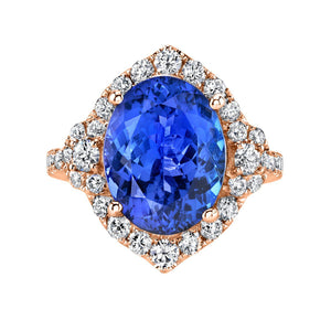 TVON - 5.40cts Oval Shape Blue Wing Tanzanite with White Diamonds Ring in 14K Gold for Women - Vintage Style Ring - SR11495