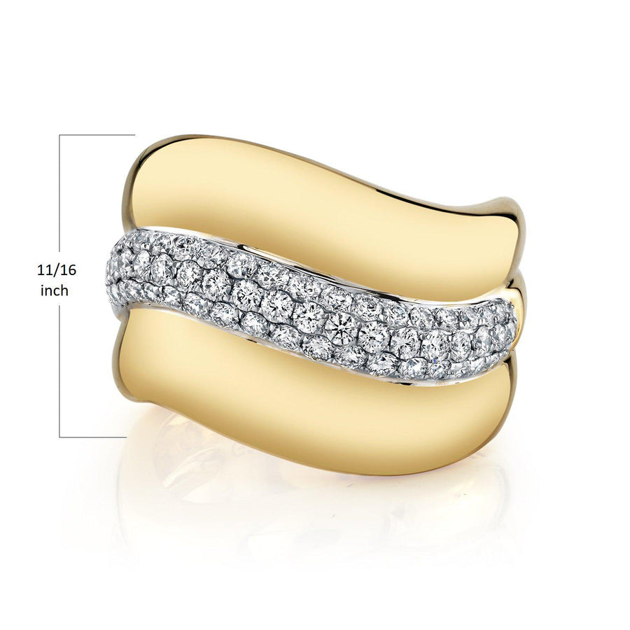 TVON - 0.87Cts Round Shape Natural Diamonds - Signature Design Ring for Women in 14K Gold with Prong Setting - SR11512