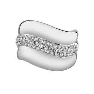 white gold diamond wave ring