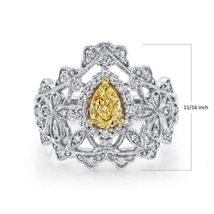 TVON - 0.49Cts Pear Shape Natural Yellow Diamond Gemstone and Diamonds - Vintage Ring for Women in 14K Gold with Prong Setting - SR11518