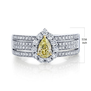 TVON - 0.45Cts Pear Natural Yellow Diamond Gemstone and Diamond - Vintage Ring for Women in 14K Gold with Prong Setting - SR11528 - 3