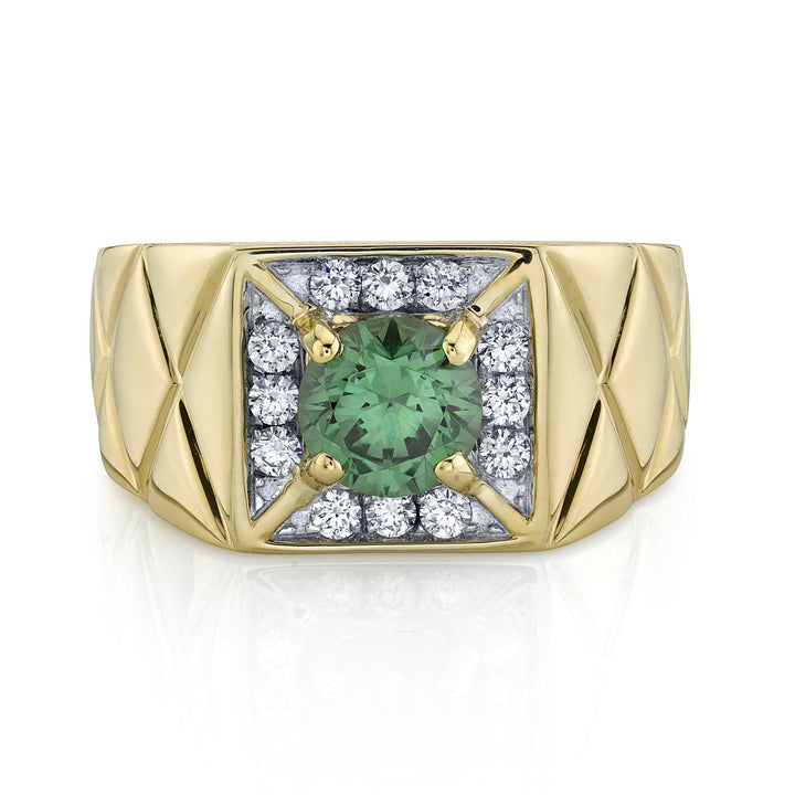 14K 2.37 Cts Russian Demantoid 0.43 Cttw VS Diamond Ring - TVON