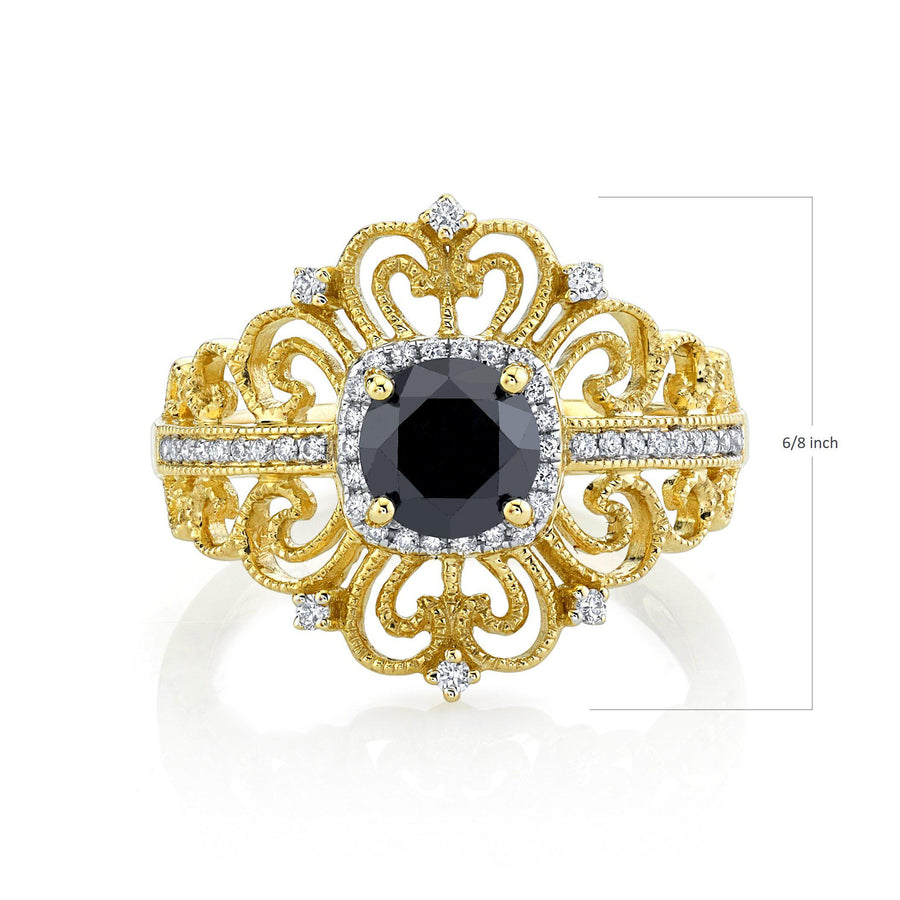 14K 1.20 Cts Black Diamond 0.20 Cttw VS Diamond Ring - TVON.com