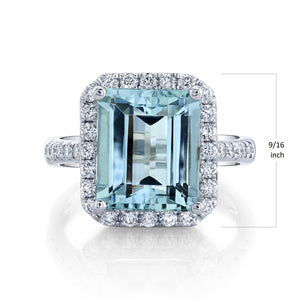 TVON - 5Cts Emerald Cut Natural Santa Maria Aquamarine Gemstone and Diamond - Vintage Ring for Women in 14K Gold with Prong Setting - SR11556 - 3
