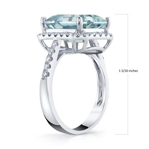 TVON - 5Cts Emerald Cut Natural Santa Maria Aquamarine Gemstone and Diamond - Vintage Ring for Women in 14K Gold with Prong Setting - SR11556 - 4