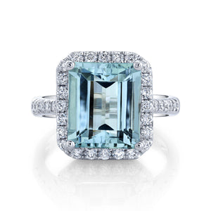 TVON - 5Cts Emerald Cut Natural Santa Maria Aquamarine Gemstone and Diamond - Vintage Ring for Women in 14K Gold with Prong Setting - SR11556 - 1