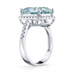TVON - 5Cts Emerald Cut Natural Santa Maria Aquamarine Gemstone and Diamond - Vintage Ring for Women in 14K Gold with Prong Setting - SR11556 - 2