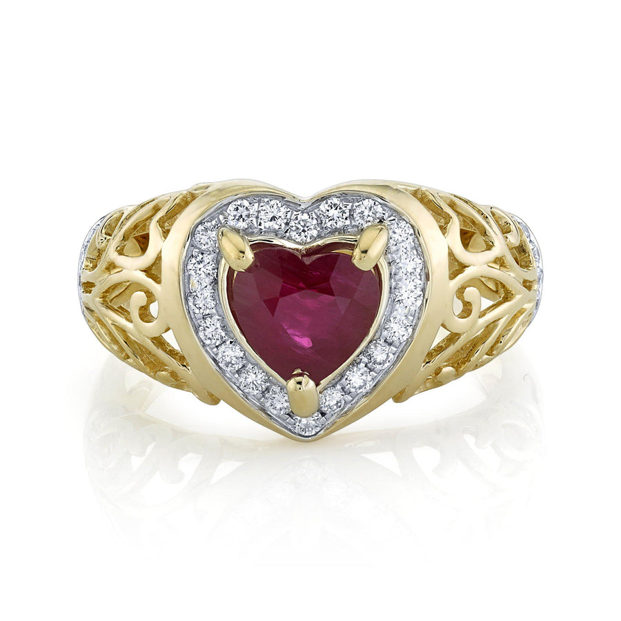 TVON - 1.08Cts Heart Natural Burma Ruby Gemstone and Diamond - Heart Ring for Women in 14K Gold with Prong Setting - SR11567 - 1