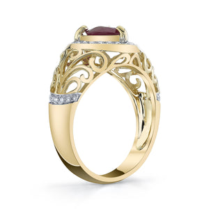 TVON - 1.08Cts Heart Natural Burma Ruby Gemstone and Diamond - Heart Ring for Women in 14K Gold with Prong Setting - SR11567 - 2