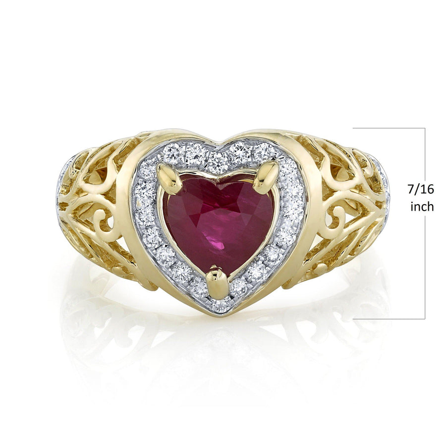 TVON - 1.08Cts Heart Natural Burma Ruby Gemstone and Diamond - Heart Ring for Women in 14K Gold with Prong Setting - SR11567 - 3